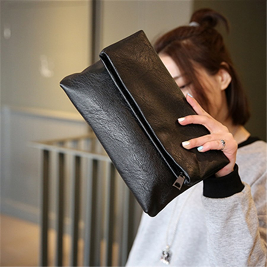 信封包 日韩折叠手拿包复古黑色女士时尚大容量信封包 pu软皮实用小手包_推荐淘宝好看的女信封包