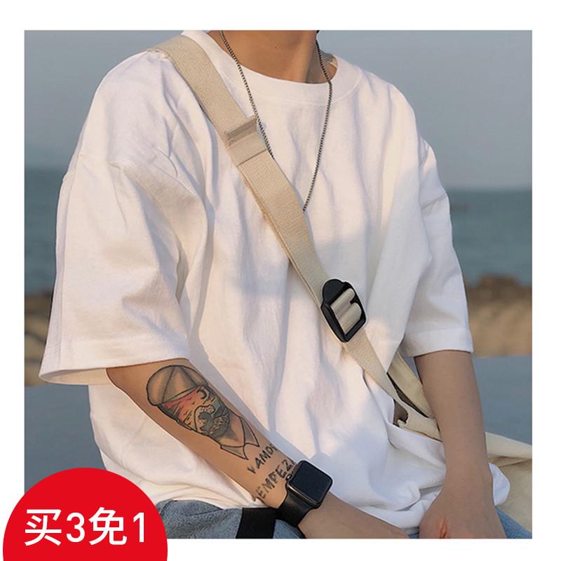 男士t恤 letstee夏装重磅 纯色欧美式复古短袖T恤 宽松打底衫潮牌男士体恤_推荐淘宝好看的男t恤