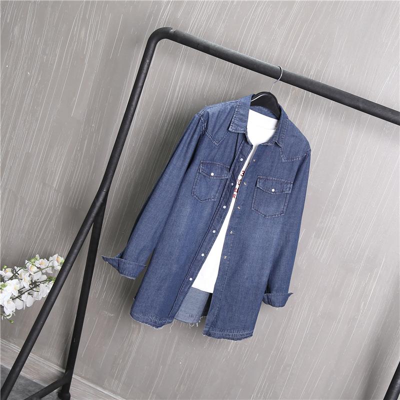 牛仔衬衫 爆款 牛仔衬衫女长袖中长款宽松2018春装新款深蓝色外套C5_推荐淘宝好看的女牛仔衬衫