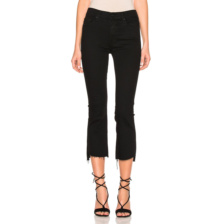 黑色牛仔裤 DUBAIJIE 现高级 小喇叭不规则磨边黑色九分大码牛仔裤女 RFV751A_推荐淘宝好看的黑色牛仔裤