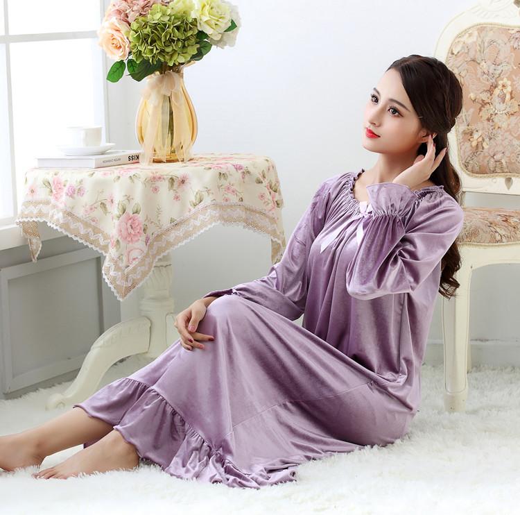 睡裙 春秋季女士长袖天鹅绒丝绒加大码加长款松紧领公主睡裙睡衣家居服_推荐淘宝好看的睡裙