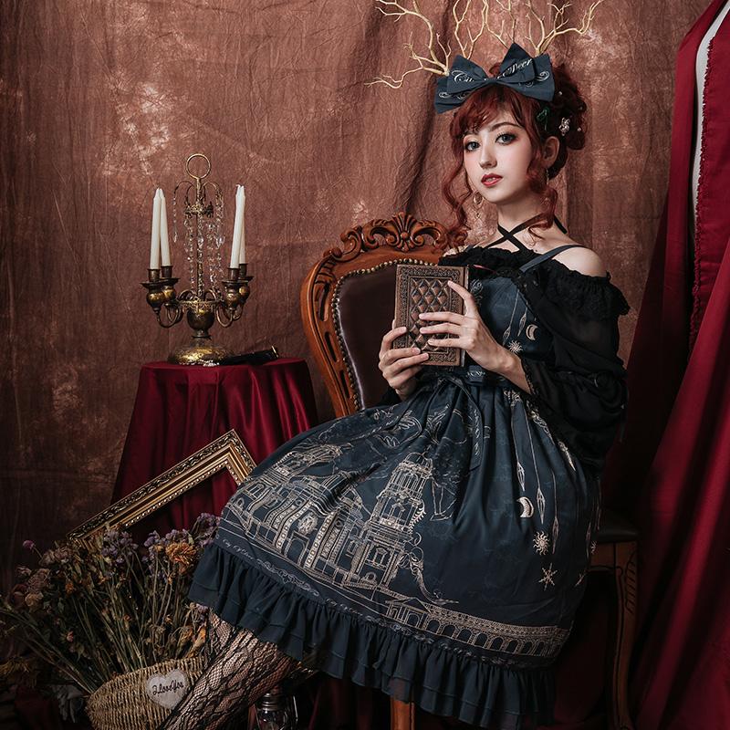 蕾丝连衣裙 麋鹿之城 lolita洋装连衣裙原创设计宫廷复古蕾丝褶皱吊带连衣裙_推荐淘宝好看的蕾丝连衣裙