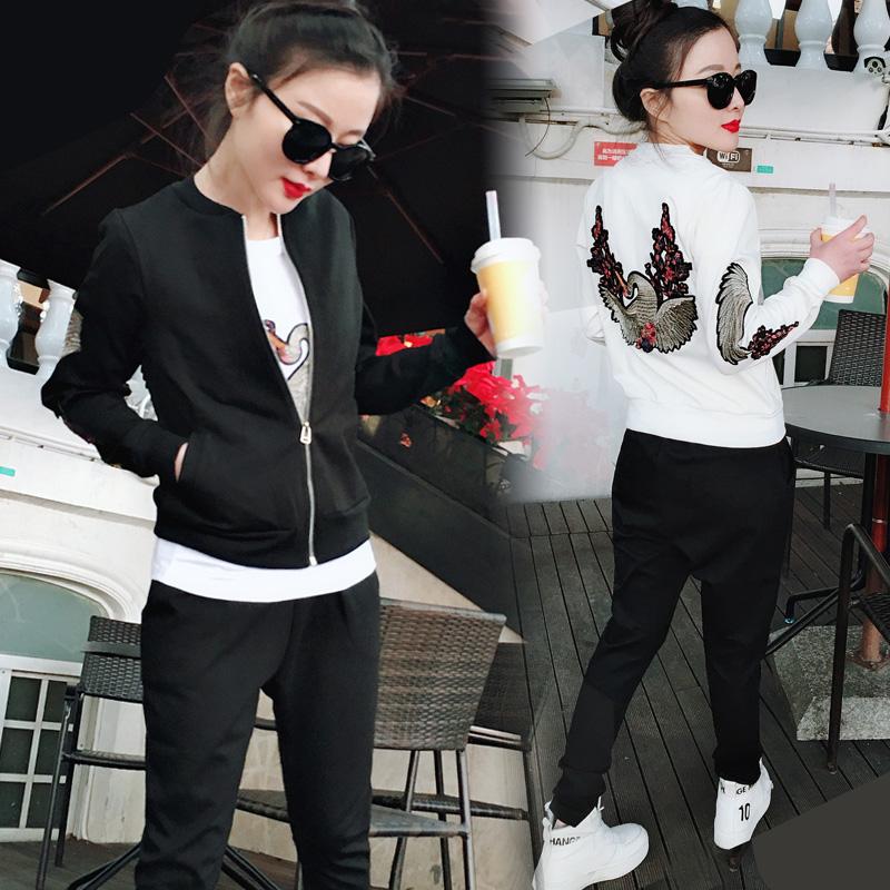 卫衣 运动套装女春季2018新款韩版时尚刺绣开衫卫衣休棒球服三件套女_推荐淘宝好看的女卫衣