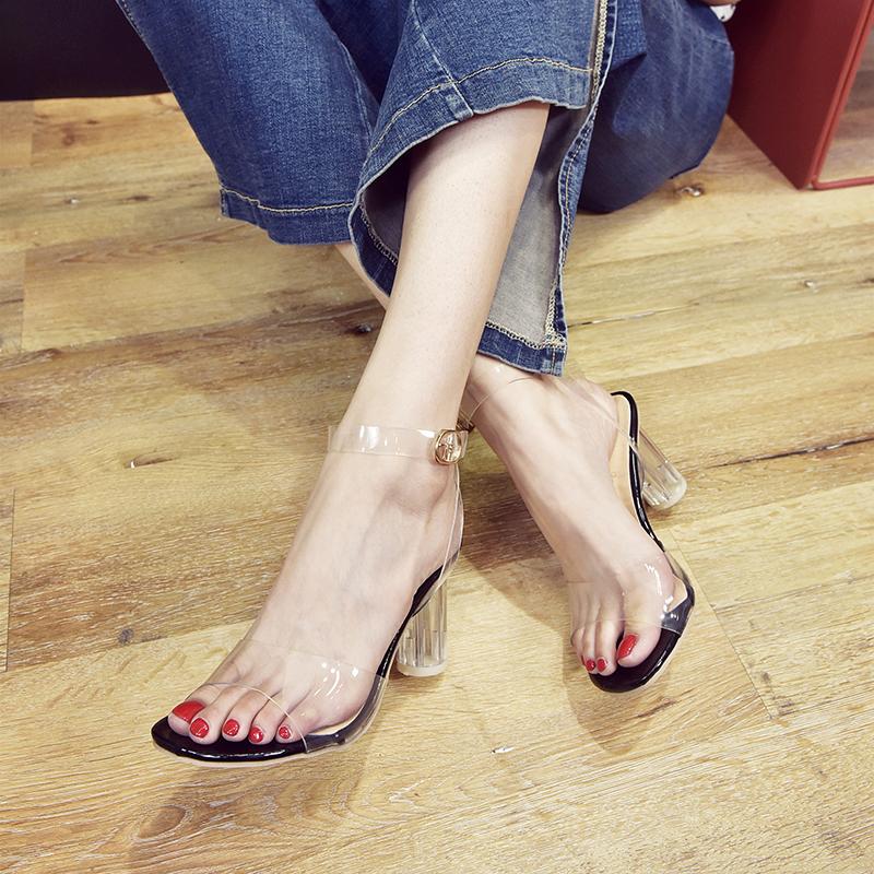 新款女士高跟凉鞋 凉鞋2018新款女夏季韩版透明高跟鞋露趾显瘦一字扣中空气质罗马鞋_推荐淘宝好看的女新款高跟凉鞋