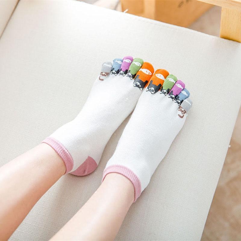 糖果色短丝袜 女士五指袜纯棉薄款春夏季低帮短筒烫画印花运动糖果色防勾丝袜子_推荐淘宝好看的糖果色短丝袜