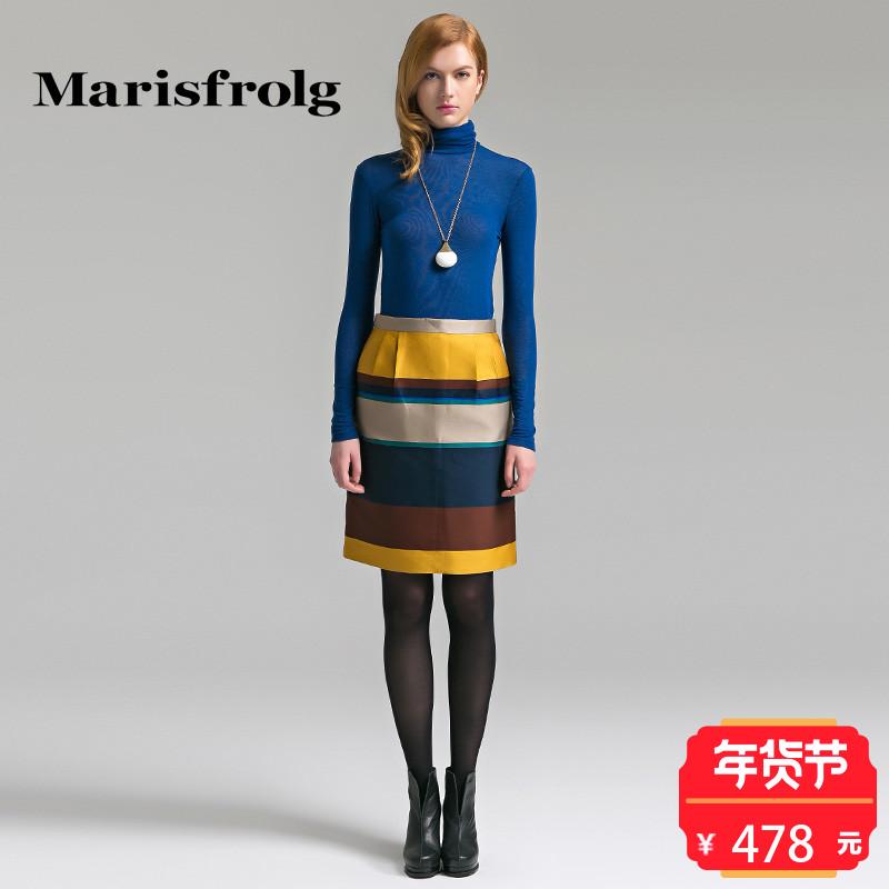 玛丝菲尔女装折扣店 Marisfrolg玛丝菲尔女装时尚撞色优雅气质显瘦高腰半裙专柜正品_推荐淘宝好看的玛丝菲尔