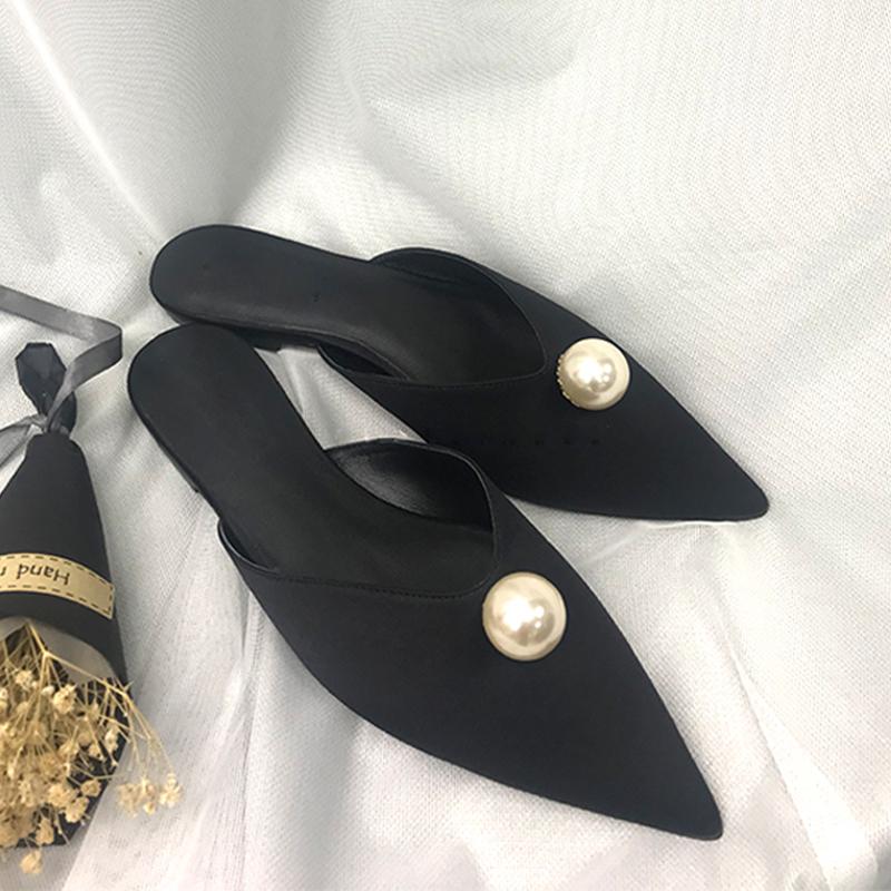 欧美款尖头鞋 18欧美尖头珍珠时尚百搭包头穆勒鞋平底鞋舒适半拖鞋黑色优雅女鞋_推荐淘宝好看的欧美尖头鞋