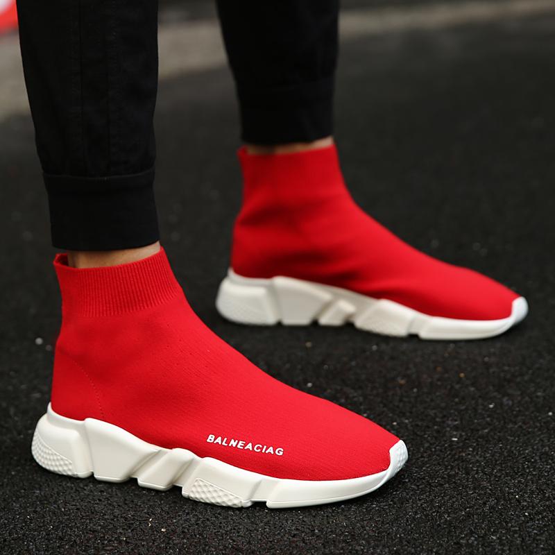 红色高帮鞋 Les帅T林弯弯男鞋春季透气袜子鞋厚底增高板鞋37小码高帮红色布鞋_推荐淘宝好看的红色高帮鞋