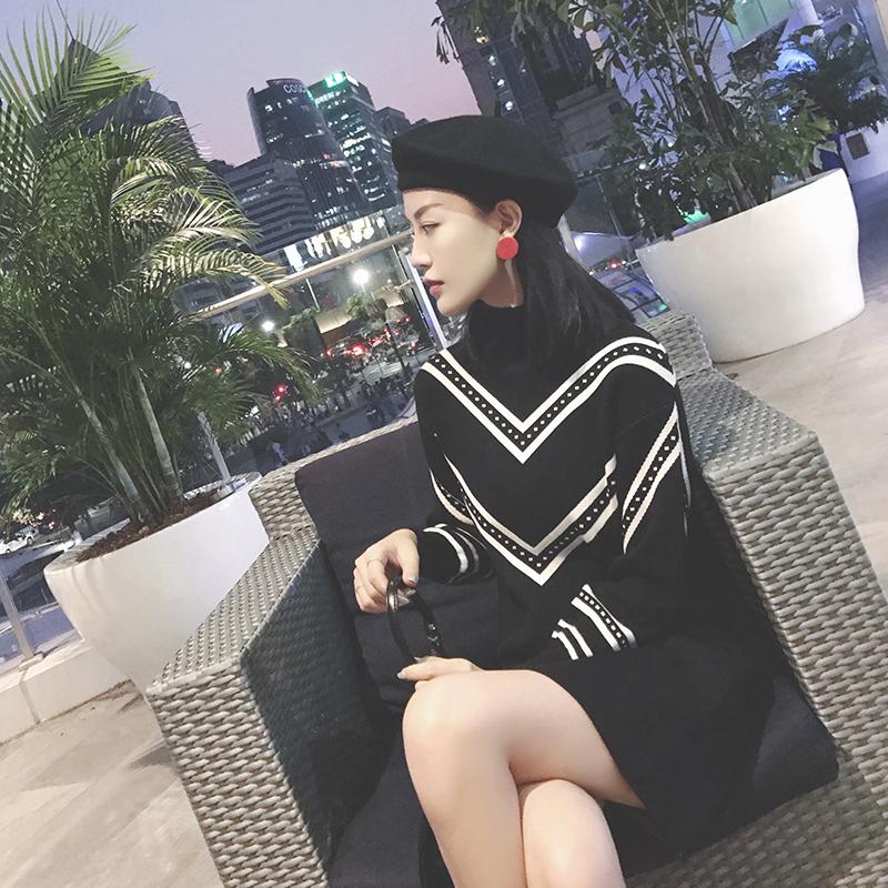 黑色连衣裙 或喜加厚2018新款冬季针织连衣裙秋冬装显瘦打底裙毛衣裙a字裙子_推荐淘宝好看的黑色连衣裙