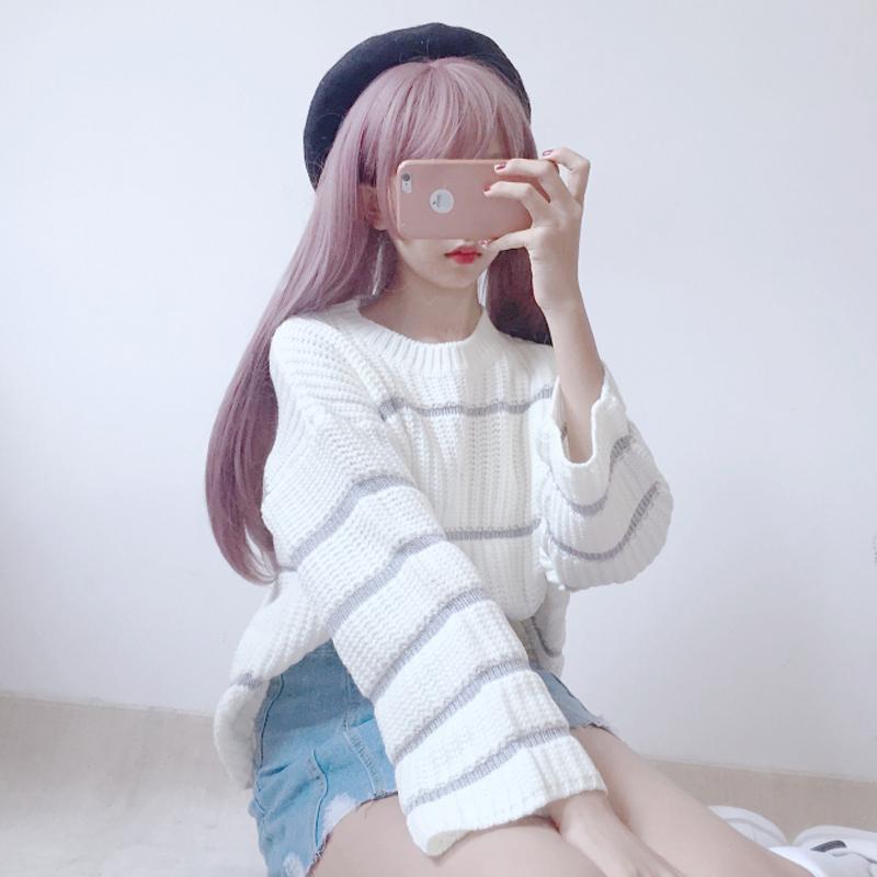 粉红色针织衫 秋装日系女装甜美可爱休闲条纹针织衫软妹上衣宽松喇叭袖套头毛衣_推荐淘宝好看的粉红色针织衫