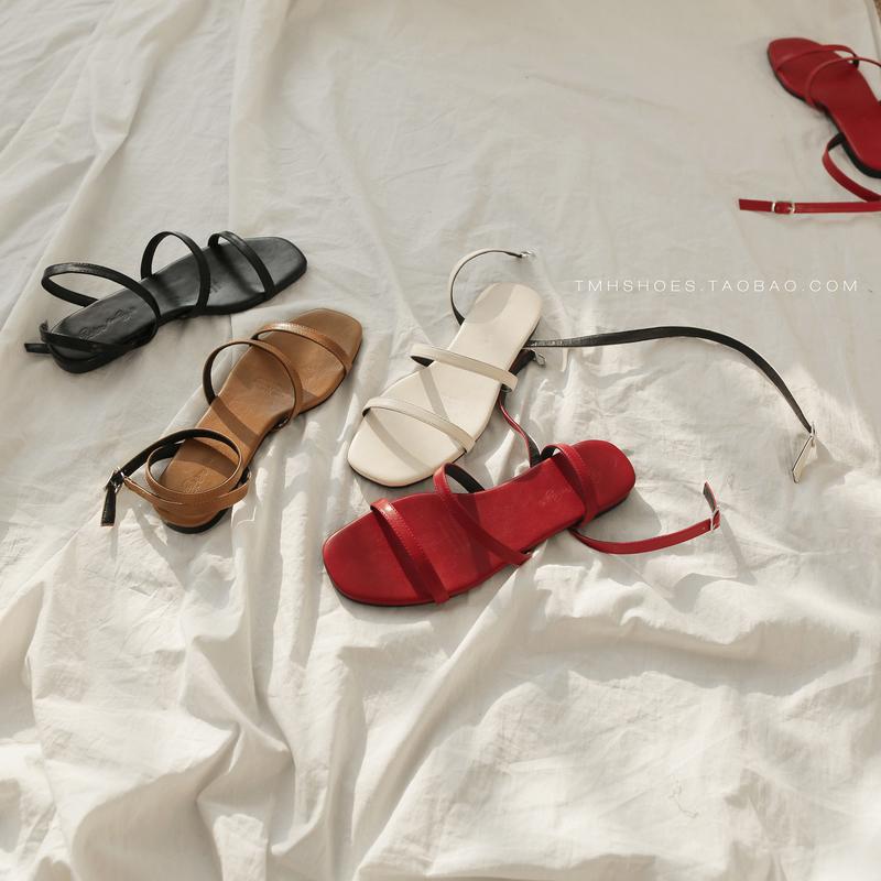 红色凉鞋 RP同款 东大门浅口气质细带组合 罗马风 舒适沙滩平底凉鞋 红色_推荐淘宝好看的红色凉鞋