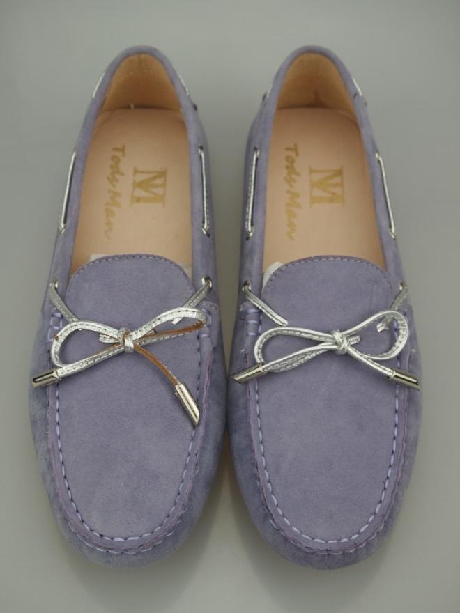 紫色豆豆鞋 秋季潮流豆豆鞋 女鞋 单鞋 真皮 磨砂羊皮浅紫色 银色蝴蝶结 圆头_推荐淘宝好看的紫色豆豆鞋