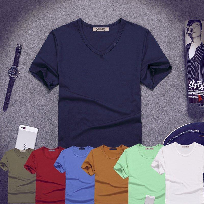 紫色T恤 夏季V领短袖t恤男士特价9.9元包邮批发打底衫大码秋衣肥胖人半袖T_推荐淘宝好看的紫色T恤