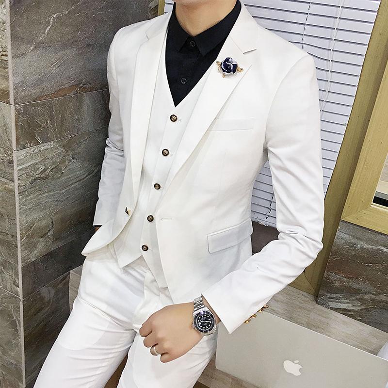 紫色小西装 新款西装男商务西服套装婚礼服韩版修身三件套发型师薄款小西装潮_推荐淘宝好看的紫色小西装
