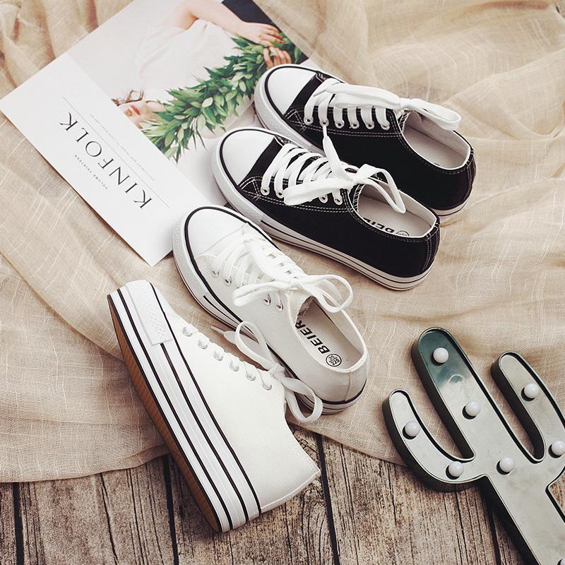 厚底低帮帆布鞋 白色帆布鞋女鞋厚底百搭小白鞋学生鞋 低帮休闲布鞋春夏内增高鞋_推荐淘宝好看的女厚底低帮帆布鞋