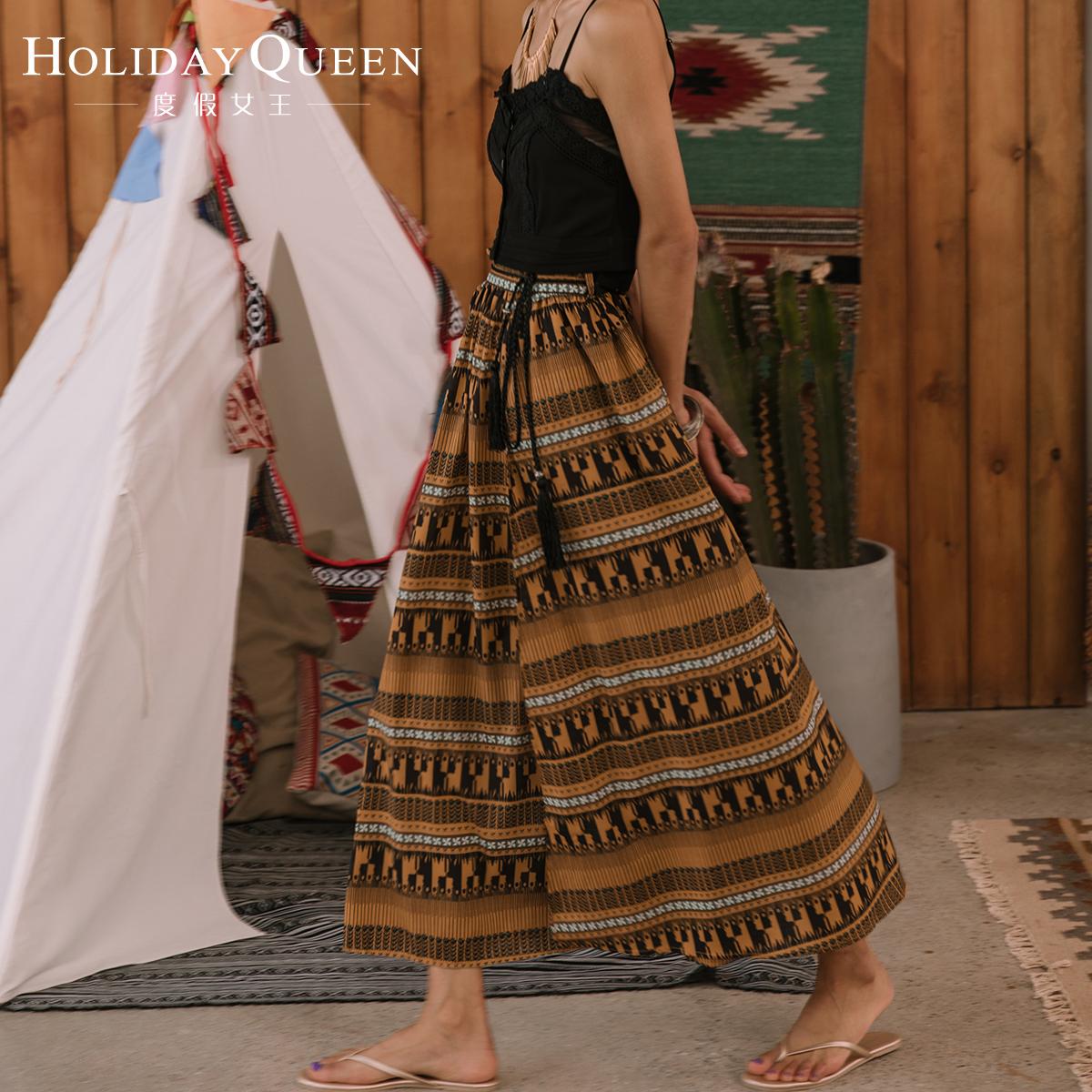 女式半身长裙 度假女王民族风长裙复古高腰半身裙巴厘岛沙滩裙裙子女夏_推荐淘宝好看的半身长裙