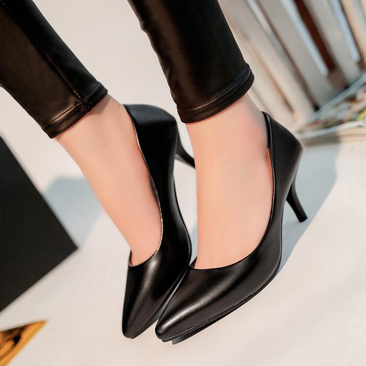 女高跟鞋 四季中跟浅口单鞋黑色尖头高跟鞋职业细跟女皮鞋礼仪工作鞋女瓢鞋_推荐淘宝好看的女高跟鞋