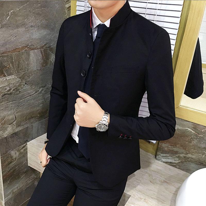 日本西装男 秋季男士休闲西服套装日系潮流中山装中华立领西装呢子西装_推荐淘宝好看的日西装男