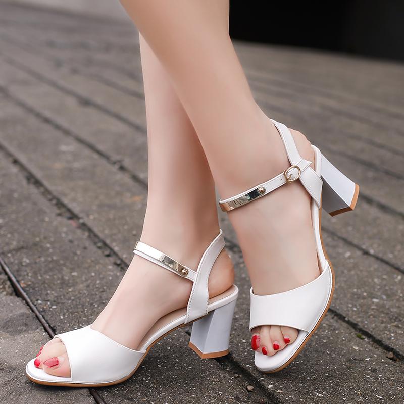 皮凉鞋 春夏新款低跟粗跟鱼嘴单鞋女矮跟白色皮鞋女中跟浅口套脚女鞋凉鞋_推荐淘宝好看的女皮凉鞋