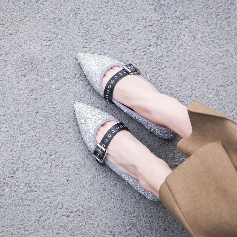 单鞋时尚平底鞋 2018春新款平底鞋女真皮闪闪银色时尚甜美尖头性感显瘦一字带单鞋_推荐淘宝好看的女单鞋时尚平底鞋