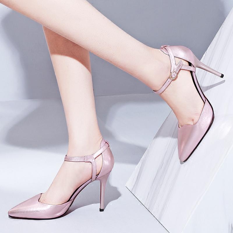 粉红色高跟鞋 女鞋2018春季新品高跟鞋细跟尖头脚踝扣带粉红色女士单鞋真皮鞋子_推荐淘宝好看的粉红色高跟鞋