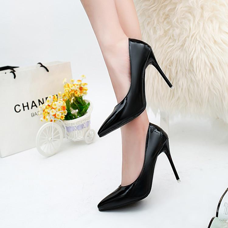 黑色高跟鞋 10cm高跟鞋细跟尖头显瘦黑色职业OL正装鞋42大码43码四季单鞋33码_推荐淘宝好看的黑色高跟鞋