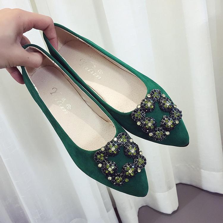 绿色平底鞋 蓝色大海的传说同款绿色鞋水钻尖头平底鞋女夏单鞋浅口女鞋学生鞋_推荐淘宝好看的绿色平底鞋