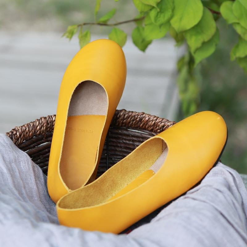 黄色平底鞋 原创2018夏季新款文艺森系黄色头层牛皮手工鞋圆头舒适平底鞋女鞋_推荐淘宝好看的黄色平底鞋