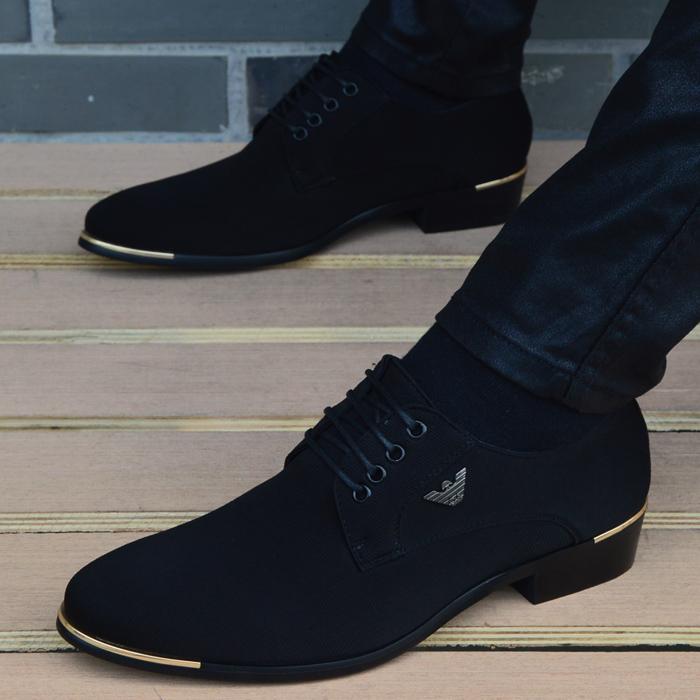 男鞋 男士商务休闲皮鞋男布面英伦黑色尖头系带时尚韩版透气内增高男鞋_推荐淘宝好看的男鞋