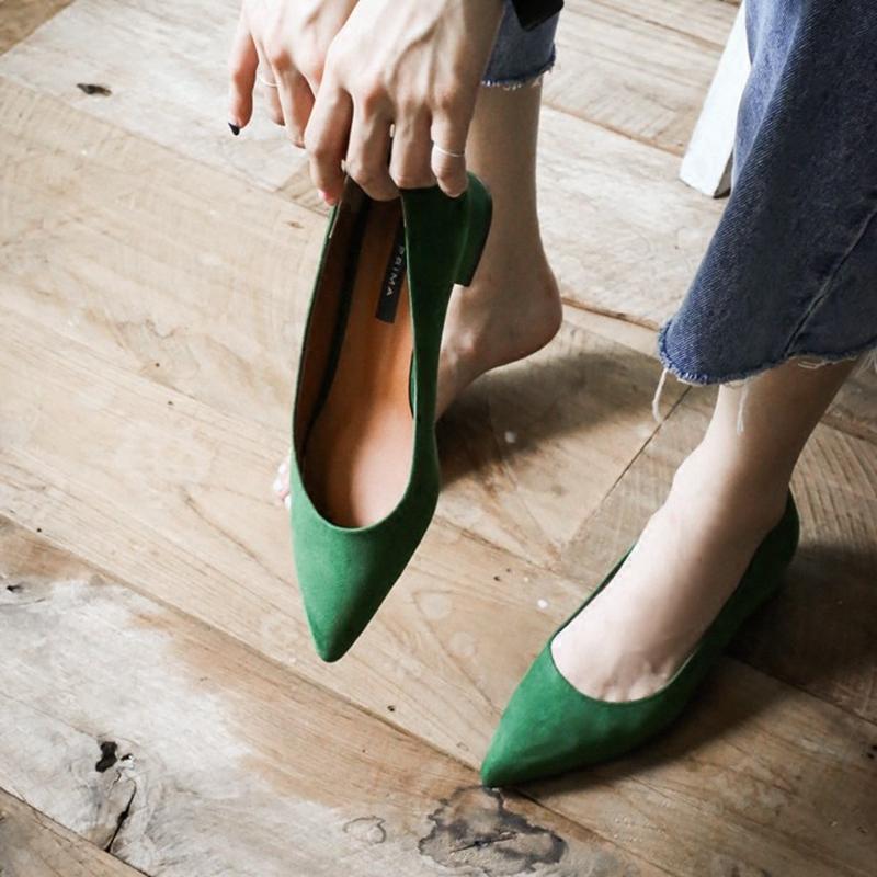 绿色尖头鞋 春秋新款韩版尖头低跟单鞋浅口绿色绒面粗跟舒适小码31 32 33女鞋_推荐淘宝好看的绿色尖头鞋