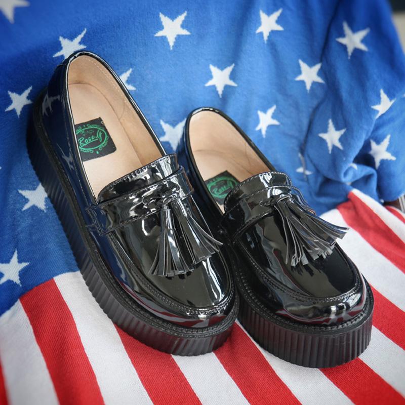 英伦松糕鞋 roseg漆皮流苏松糕鞋厚底英伦学院风日系黑色增高浅口单鞋_推荐淘宝好看的英伦松糕鞋