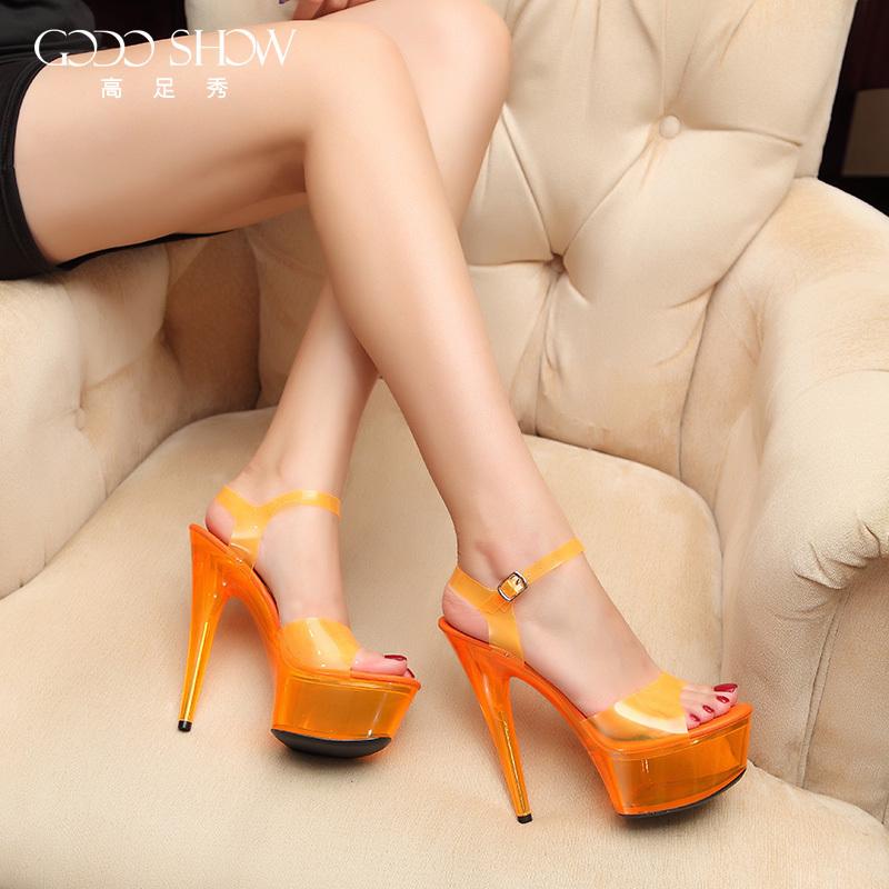 夜店性感高跟鞋 夏季性感超高跟鞋15cm细跟夜店女鞋防水台凉鞋夜光鞋模特鞋演出鞋_推荐淘宝好看的夜店性感高跟鞋