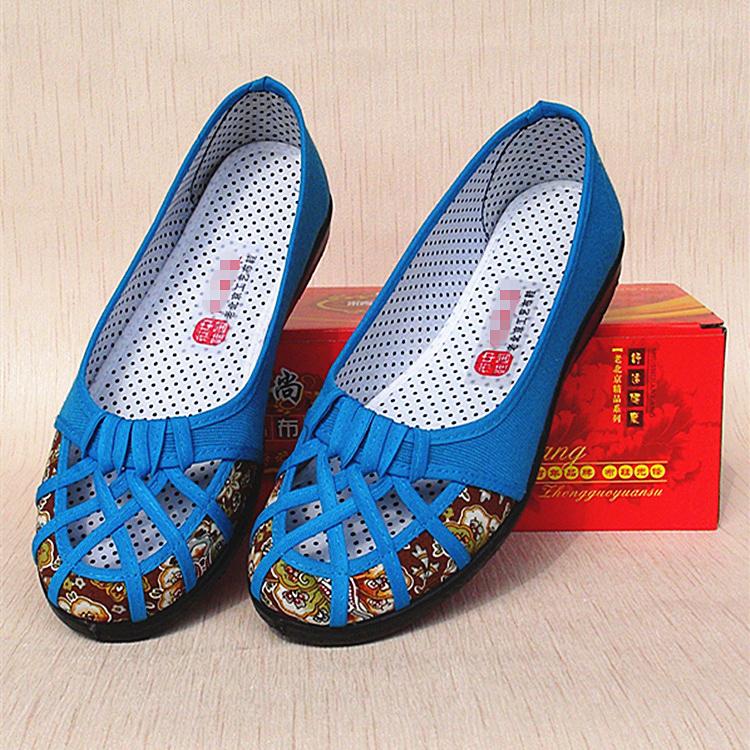 单鞋时尚平底鞋 老北京布鞋女单鞋时尚镂空鞋女士舞蹈鞋孕妇鞋平底帆布网鞋妈妈鞋_推荐淘宝好看的女单鞋时尚平底鞋