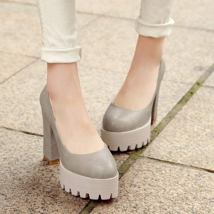 单鞋 粗跟高跟鞋性感复古大码女鞋40-42小码3233百搭10CM超高跟单鞋_推荐淘宝好看的女单鞋