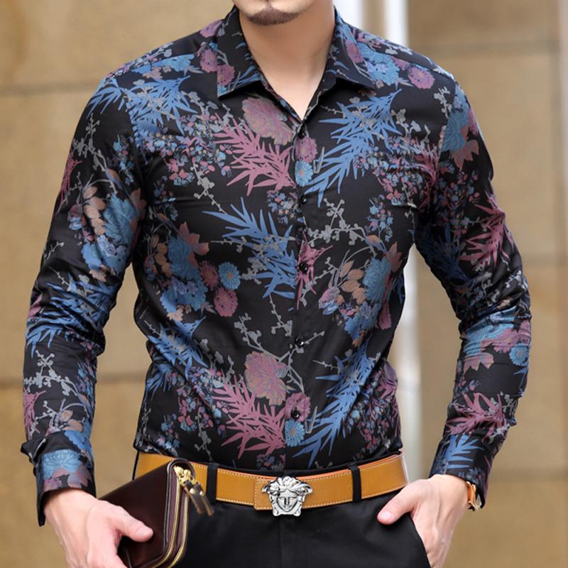 男装衬衫 蓝色剑鱼 春装新款棉质男装长袖衬衫中年男士印花商务休闲花衬衫_推荐淘宝好看的男衬衫
