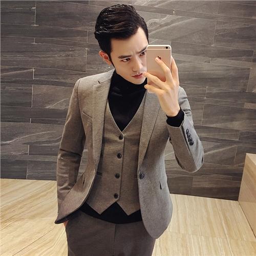 男士修身西装 秋季韩版男士修身西装套装发型师西服三件套结婚礼服小码男装潮流_推荐淘宝好看的男修身西装