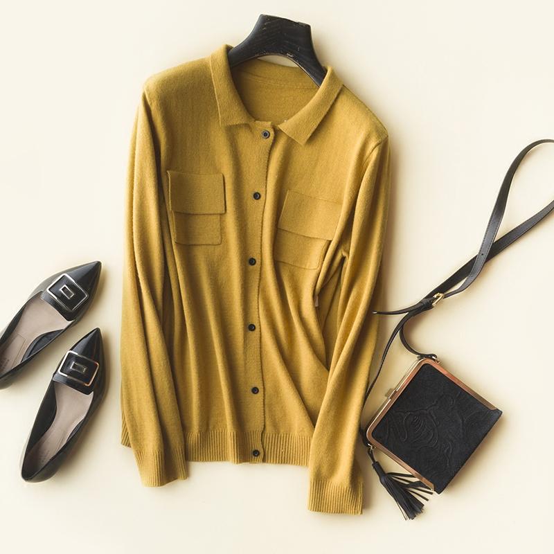 针织衫开衫 好的衣服胜过温暖的拥抱 单排扣双口袋 翻领长袖针织开衫 女_推荐淘宝好看的女开衫针织衫