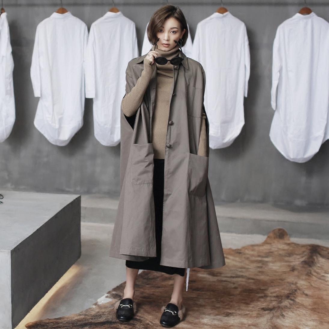 单排扣风衣 SIMPLE BLACK 原创设计欧美复古长款女士无袖斗篷风衣_推荐淘宝好看的单排扣风衣