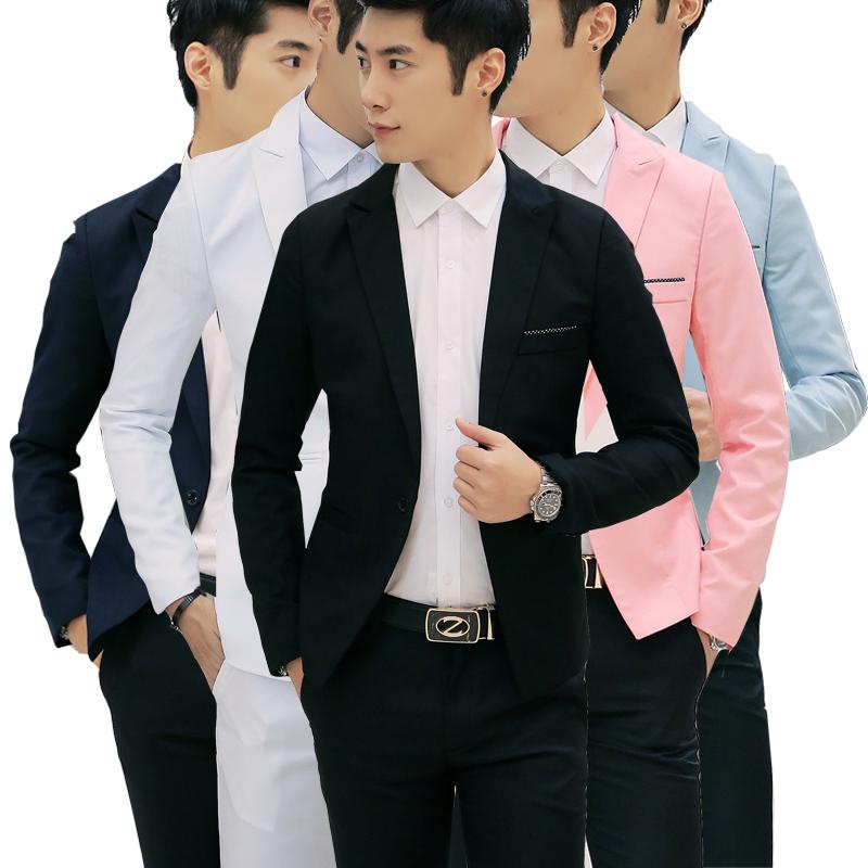 粉红色小西装 男士休闲西服韩版上衣青年小西装修身青少年秋季小西服冬季外套潮_推荐淘宝好看的粉红色小西装