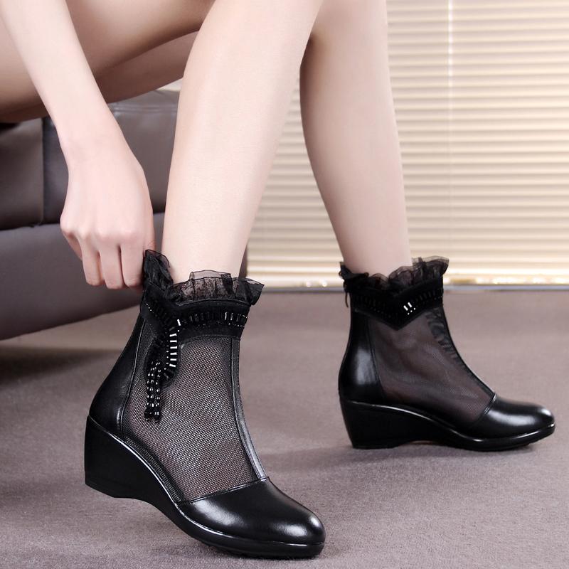 坡跟鱼嘴鞋 春秋新款真皮蕾丝透气网靴女短靴坡跟休闲女鞋大码镂空单靴妈妈鞋_推荐淘宝好看的女坡跟