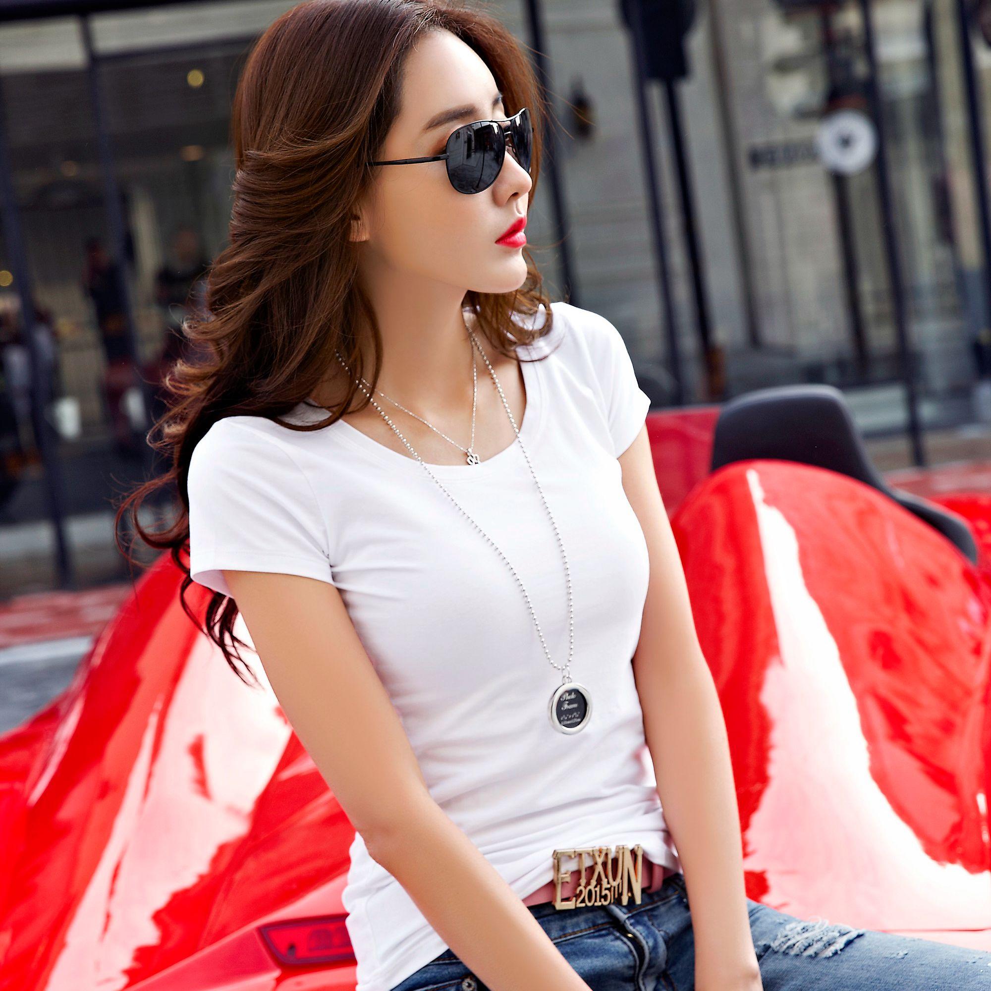 纯棉t恤 韩版白色纯棉圆领短袖T恤女夏装上衣修身纯色百搭打底衫简约体恤_推荐淘宝好看的女纯棉t恤