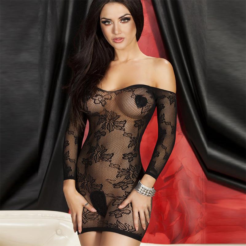 黑色蕾丝连衣裙 夏季长袖一字领连衣裙性感蕾丝拼接修身显瘦透明包臀打底裙子包邮_推荐淘宝好看的黑色蕾丝连衣裙