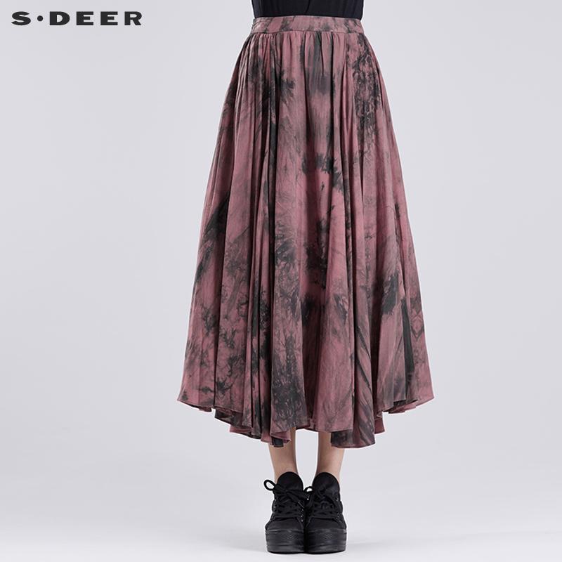 女式半身长裙 sdeer圣迪奥女装神秘艺文晕染半身长裙S16381132_推荐淘宝好看的半身长裙