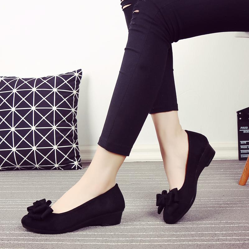 黑色坡跟鞋 春季新款老北京布鞋女鞋黑色工装鞋蝴蝶结跳舞单鞋坡跟舒适工作鞋_推荐淘宝好看的黑色坡跟鞋