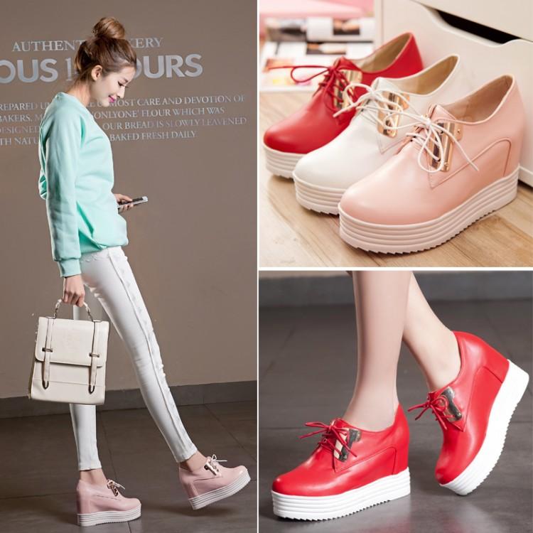 粉红色松糕鞋 女鞋2018春鞋松糕鞋内增高高跟系带学生鞋粉红色白色红色婚鞋 SC_推荐淘宝好看的粉红色松糕鞋