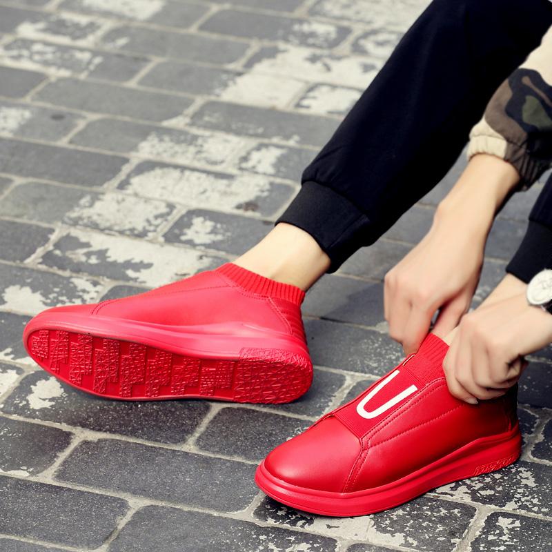红色高帮鞋 红色男士高帮鞋韩版潮流秋冬季嘻哈潮鞋运动休闲鞋子男棉鞋袜子鞋_推荐淘宝好看的红色高帮鞋