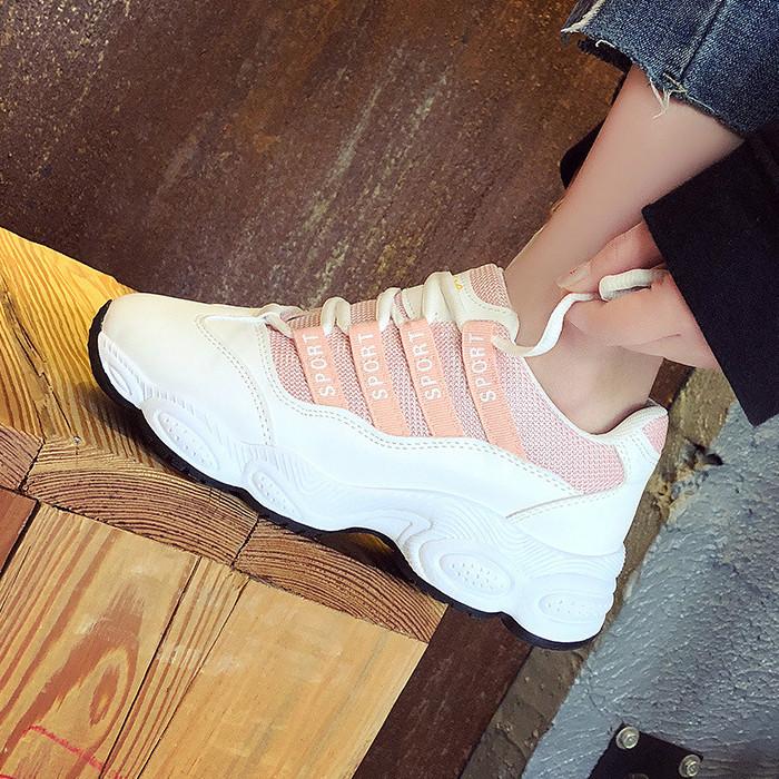 粉红色松糕鞋 春夏运动跑步鞋青年学生跑步小白鞋透气粉红色黑色松糕40码少女鞋_推荐淘宝好看的粉红色松糕鞋