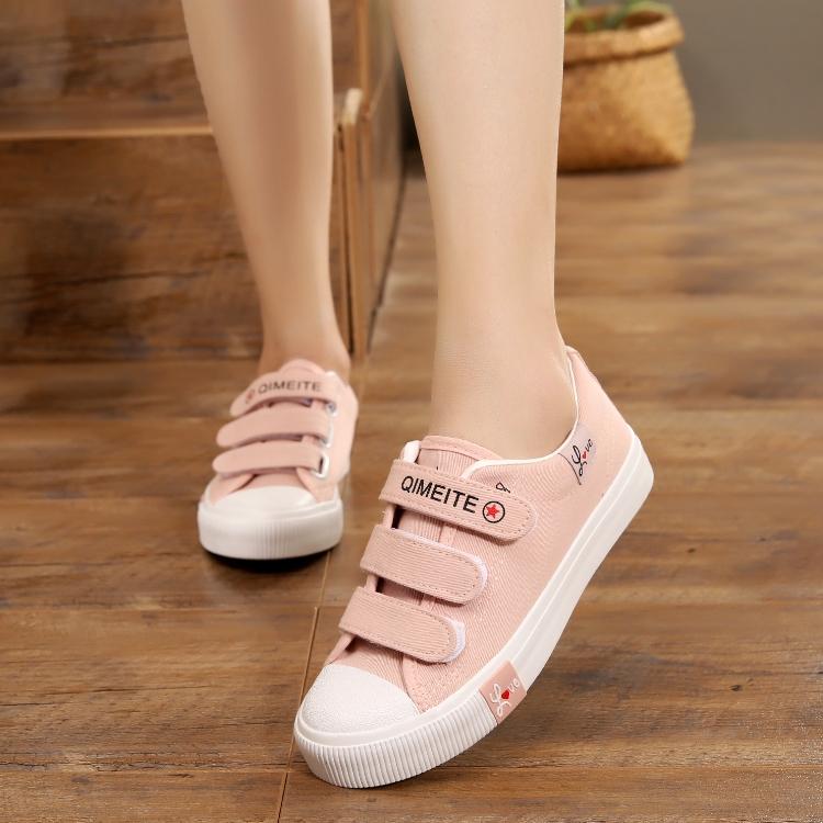 粉红色平底鞋 粉红色板鞋女帆布鞋女鞋韩版魔术贴学生鞋春季球鞋平底休闲布鞋女_推荐淘宝好看的粉红色平底鞋