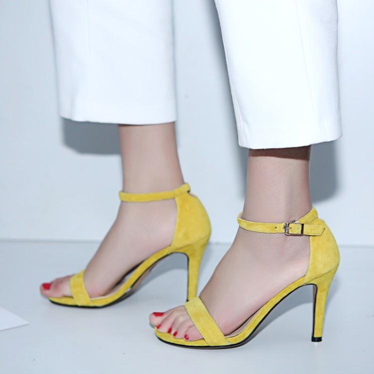 黄色罗马鞋 2018夏真皮细跟高跟漏趾凉鞋罗马鞋黄色白色包跟一字式扣带女鞋子_推荐淘宝好看的黄色罗马鞋