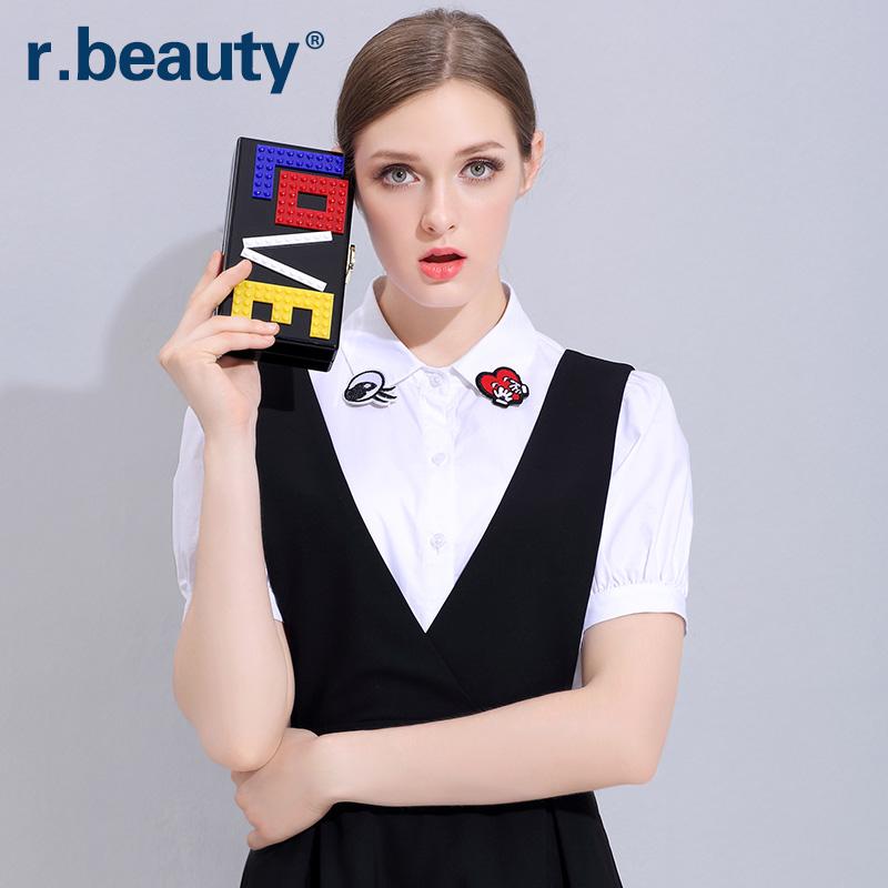 短袖衬衣 r.beauty夏季大码女装新品韩版气质翻领百搭短袖白衬衫r16B8304_推荐淘宝好看的女短袖衬衣